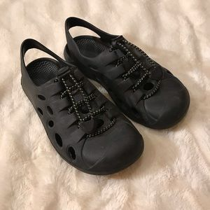 Other - {Mock Crocs} black slip on rubber water shoes